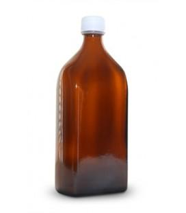Skleněná láhev hnědá hranatá se zátkou 500ml