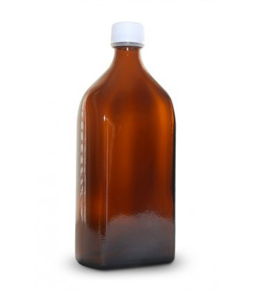 Glass bottle brown square with stopper 500 ml