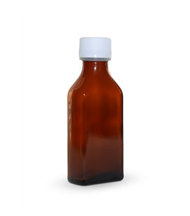 Glass square bottle brown with stopper 100 ml